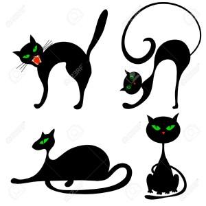 15386626-Set-del-gatto-nero-di-Halloween-con-gli-occhi-verdi-Illustrazione-vettoriale--Archivio-Fotografico