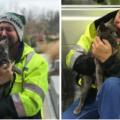 Camionista scoppia in lacrime dopo aver ritrovato il suo gatto scomparso da mesi